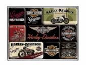 Deko-Magnet-Set 9teilig Harley-Davidson Bikes Retro-Style von Nostalgic-Art