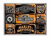 Deko-Magnet-Set 9teilig Harley-Davidson Wild At Heart Retro-Style von Nostalgic-Art