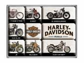 Deko-Magnet-Set 9teilig Harley-Davidson - Model Chart Retro-Style von Nostalgic-Art