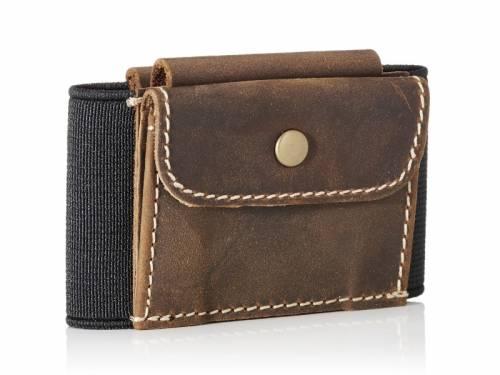 Minimalistisches Kartenetui / Slim Wallet / Mini-Geldbörse -Triple- Münzfach Textil/Leder schwarz/braun MakakaOnTheRun - Bild vergrößern