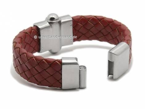 Schmuck-Armband Leder rotbraun geflochten Magnet-Verschluss Edelstahl von MABRO Steel - Bandlänge ca. 19cm - Bild vergrößern