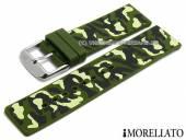 Uhrenarmband Camouflage 22mm olivgrün/schwarz Silikon Military-Look von MORELLATO (Schließenanstoß 22 mm)