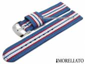 Uhrenarmband Badminton Linea 18mm hblau Textil/Synthetik rote und weiße Streifen MORELLATO (Schließenanstoß 18 mm)
