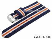 Uhrenarmband Badminton Linea 18mm dblau Textil/Synthetik weiße und oranger Streifen MORELLATO (Schließenanstoß 18 mm)