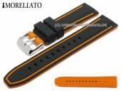 Uhrenarmband Tarim 20mm schwarz/orange Silikon mit Struktur Streifen orange von MORELLATO (Schließenanstoß 18 mm)