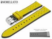 Uhrenarmband Flyboard 22mm gelb Leder/Rubber genarbt Racing-Look von MORELLATO (Schließenanstoß 20 mm)