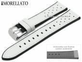 Uhrenarmband Flyboard 22mm weiß Leder/Rubber genarbt Racing-Look von MORELLATO (Schließenanstoß 20 mm)