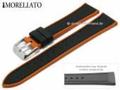 Uhrenarmband Net Ball 22mm schwarz Textil/Rubber orange Seitenkanten von MORELLATO (Schließenanstoß 20 mm)