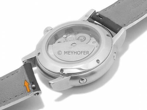 Meyhofer EASY-CLICK Uhrenarmband -Cascadia- 18mm schwarz Leder Alligator-Prägung helle Naht (Schließenanstoß 16 mm) - Bild vergrößern