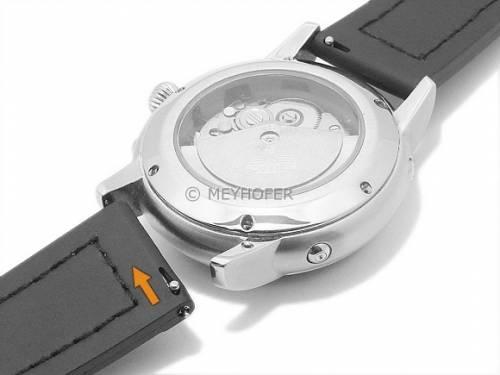 Meyhofer EASY-CLICK Uhrenarmband -Ensley- 22mm schwarz/braun Leder/Kautschuk Alligator-Prägung (Schließenanstoß 20 mm) - Bild vergrößern