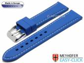 Meyhofer EASY-CLICK Uhrenarmband Tanaro 22mm royalblau Kautschuk glatt helle Naht (Schließenanstoß 20 mm)