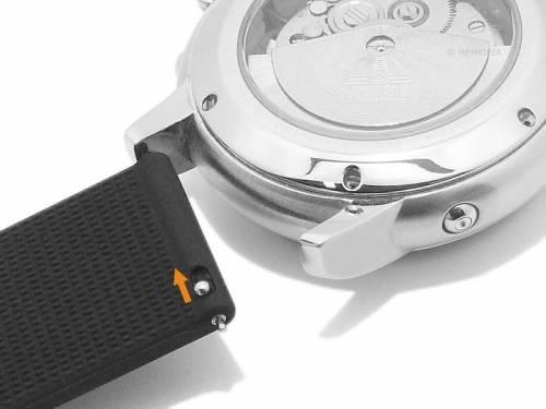 Meyhofer EASY-CLICK Uhrenarmband XL -Lathorp- 20mm schwarz Silikon glatt ohne Naht (Schließenanstoß 20 mm) - Bild vergrößern