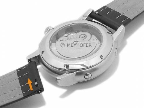 Meyhofer EASY-CLICK Uhrenarmband -Lenexa- 20mm schwarz Leder glatt graue & blaue Naht (Schließenanstoß 18 mm) - Bild vergrößern