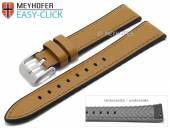 Meyhofer EASY-CLICK Uhrenarmband Ontario 22mm hellbraun Leder/Silikon glatt abgenäht (Schließenanstoß 20 mm)