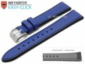 Meyhofer EASY-CLICK Uhrenarmband Ontario 24mm mittelblau Leder/Silikon glatt abgenäht (Schließenanstoß 22 mm)