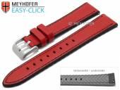 Meyhofer EASY-CLICK Uhrenarmband Ontario 20mm rot Leder/Silikon glatt schwarze Naht (Schließenanstoß 18 mm)