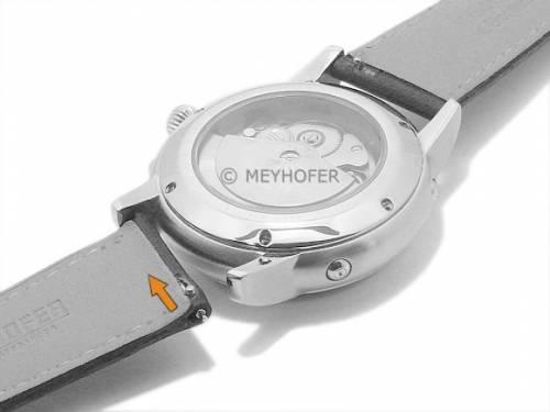 Meyhofer EASY-CLICK Uhrenarmband -Rhine- 20mm dunkelbraun Leder glatt helle Naht (Schließenanstoß 16 mm) - Bild vergrößern