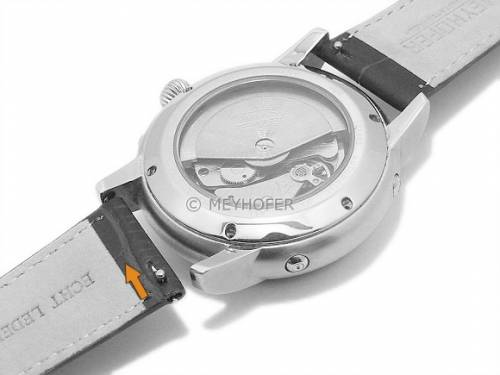 Meyhofer EASY-CLICK Uhrenarmband XS -Biscayne- 22mm dunkelgrau Leder Alligator-Prägung abgenäht (Schließenanstoß 18 mm) - Bild vergrößern