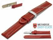 Meyhofer EASY-CLICK Uhrenarmband Stratford 20mm rot Leder Teju-Prägung Faltschließe (Schließenanstoß 20 mm)