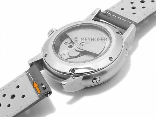 Meyhofer EASY-CLICK Uhrenarmband -Alton- 16mm schwarz Leder Racing-Look helle Naht (Schließenanstoß 16 mm) - Bild vergrößern