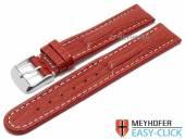 Meyhofer EASY-CLICK Uhrenarmband Agudo 20mm rot Leder Teju-Prägung helle Naht (Schließenanstoß 20 mm)