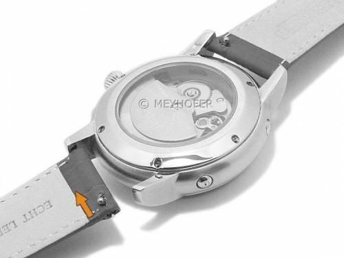 Meyhofer EASY-CLICK Uhrenarmband XL -Payson- 14mm dunkelbraun Leder Alligator-Prägung abgenäht (Schließenanstoß 12 mm) - Bild vergrößern