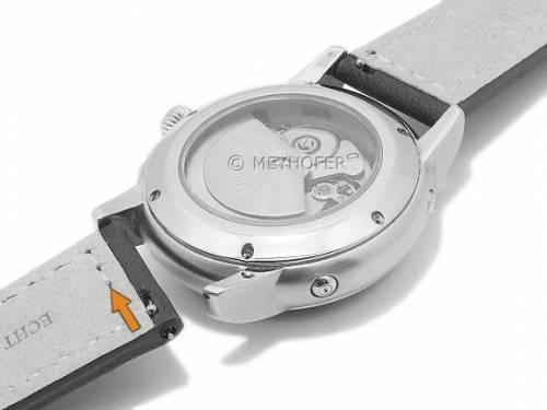Meyhofer EASY-CLICK Uhrenarmband -Antero- 24mm schwarz Leder Aviator-Look helle Naht (Schließenanstoß 22 mm) - Bild vergrößern