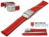 Meyhofer EASY-CLICK Uhrenarmband Paonia 20mm rot Leder glatt helle Naht Faltschließe (Schließenanstoß 18 mm)