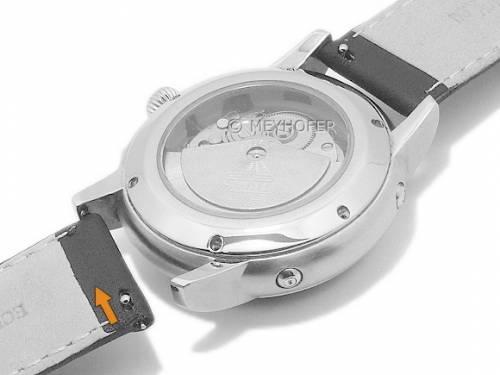 Meyhofer EASY-CLICK Uhrenarmband -Amnicon- 18mm schwarz Leder glatt helle Naht (Schließenanstoß 18 mm) - Bild vergrößern