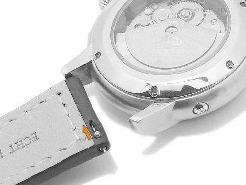 Meyhofer EASY-CLICK Uhrenarmband -Neuburg- 20mm schwarz Leder orange Naht Schließe schwarz (Schließenanstoß 18 mm) - Bild vergrößern