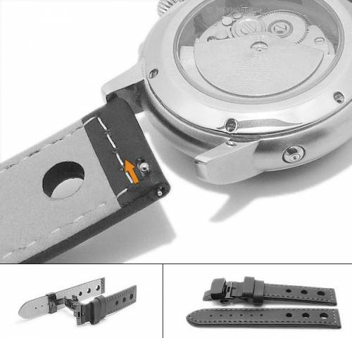 Meyhofer EASY-CLICK Uhrenarmband -Silkborg- 20mm schwarz Leder rote Naht Faltschließe schwarz (Schließenanstoß 20 mm) - Bild vergrößern