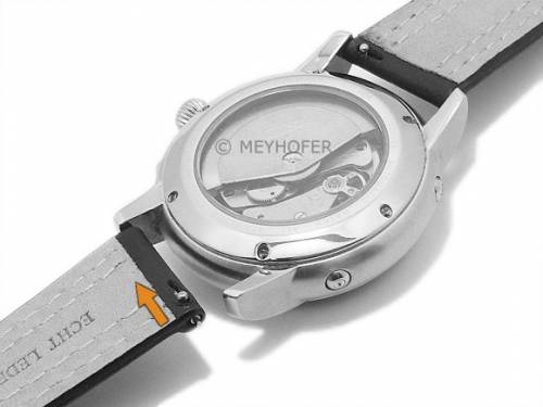 Meyhofer EASY-CLICK Uhrenarmband -Denali- 20mm schwarz Leder glatt helle Doppelnaht (Schließenanstoß 18 mm) - Bild vergrößern