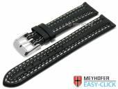 Meyhofer EASY-CLICK Uhrenarmband Denali 18mm schwarz Leder glatt helle Doppelnaht (Schließenanstoß 16 mm)