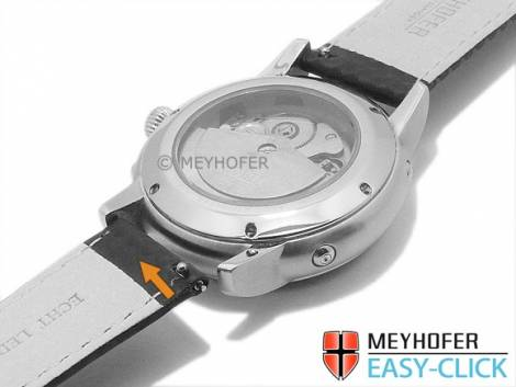 Meyhofer EASY-CLICK Uhrenarmband -Tobin- 22mm schwarz Leder Karbon-Look orange Naht Faltschließe (Schließenanstoß 20 mm) - Bild vergrößern