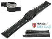 Meyhofer EASY-CLICK Uhrenarmband Liard 24mm schwarz Leder Karbon-Look helle Naht Faltschließe (Schließenanstoß 22 mm)
