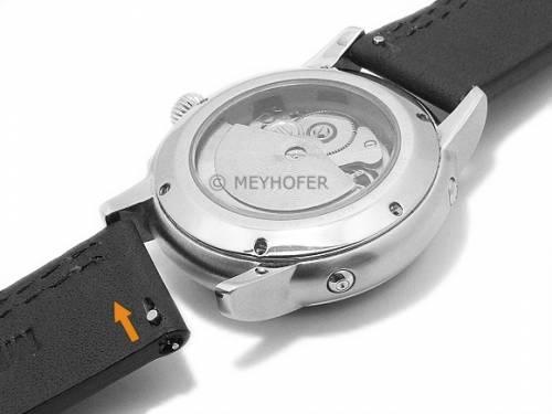 Meyhofer EASY-CLICK Uhrenarmband -Wollin- 24mm schwarz Leder helle einseitige Doppelnaht (Schließenanstoß 24 mm) - Bild vergrößern