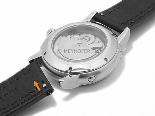 Meyhofer EASY-CLICK Uhrenarmband -Narew- 20mm schwarz Leder graue Doppelnaht (Schließenanstoß 20 mm) - Bild vergrößern