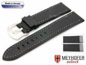 Uhrenarmband Tamarit 20mm schwarz Leder genarbt abgenäht von MEYHOFER (Schließenanstoß 18 mm)