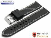 Uhrenarmband Calgary Sport 22mm schwarz Kautschuk glatt helle Doppelnaht von MEYHOFER (Schließenanstoß 20 mm)