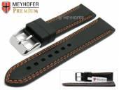 Uhrenarmband Calgary 20mm schwarz Kautschuk glatt orange Doppelnaht von MEYHOFER (Schließenanstoß 18 mm)