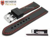 Uhrenarmband Calgary 22mm schwarz Kautschuk glatt rote Doppelnaht von MEYHOFER (Schließenanstoß 20 mm)