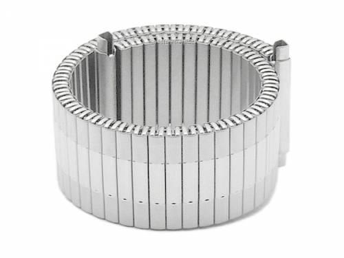 Uhrenarmband -Lindsborg- 18-20mm Edelstahl-Zugband mit Teleskop-Anstoß teilweise poliert von MEYHOFER - Bild vergrößern