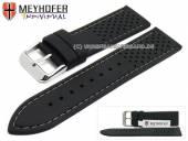 Uhrenarmband Veteli 22mm schwarz Silikon Racing-Look graue Naht von MEYHOFER (Schließenanstoß 20 mm)