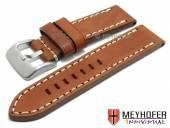 Uhrenarmband Arona 26mm mittelbraun Sattelleder glatt helle Naht von MEYHOFER (Schließenanstoß 26 mm)