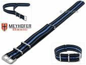 MEYHOFER Basic Uhrenarmband Abilene 20mm schwarz Synthetik/Textil blaue Streifen 3 Metallschlaufen Durchzugsband