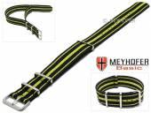MEYHOFER Basic Uhrenarmband Abilene 20mm schwarz Synthetik/Textil gelbe Streifen 3 Metallschlaufen Durchzugsband