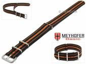 MEYHOFER Basic Uhrenarmband Abilene 20mm schwarz Synthetik/Textil orange Streifen 3 Metallschlaufen Durchzugsband