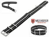 MEYHOFER Basic Uhrenarmband Abilene 20mm schwarz Synthetik/Textil weiße Streifen 3 Metallschlaufen Durchzugsband