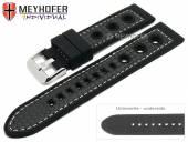 Uhrenarmband Tulsa 24mm schwarz Silikon Karbon-Optik  Racing-Look helle Naht von MEYHOFER (Schließenanstoß 22 mm)