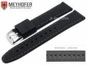 Uhrenarmband Gatlinburg 18mm schwarz Silikon gemustert matt graue Naht von MEYHOFER (Schließenanstoß 16 mm)